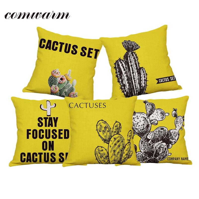Comwarm Summer Tropical Succulents Plants Printed Cushion Cover Cotton Linen Cactus Series Throw Chair Pillow Cover Pillow Case