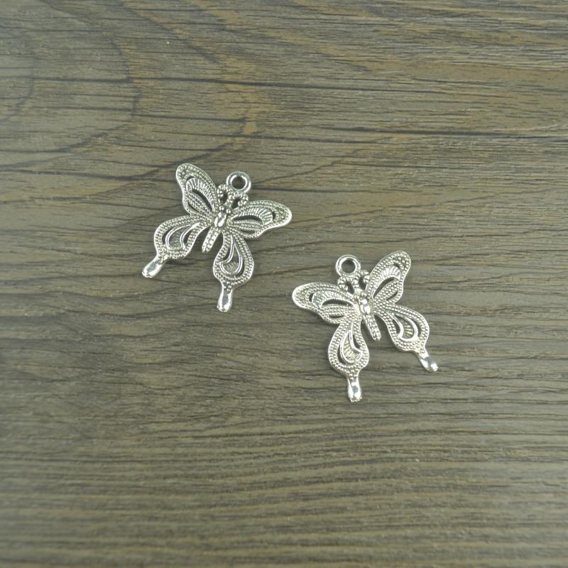 60 piezas mariposa encanto tibetano plata tono colgantes de metal diy encantos joyería 27*25mm C4106