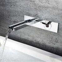 Высокое качество хром латунь однорычажный Площадь Настенный горячей и холодной ванной комнате раковина водопад кран бассейна