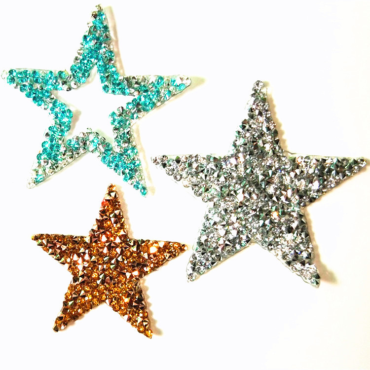 1pc Acrylic drilling star patches for clothing DIY iron on sequin stars patch bags Embroidery applique parche ropa