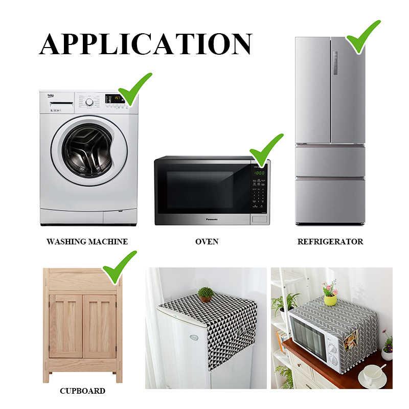 Чехол для стиральной машины из искусственного льна с карманом для холодильника, верхняя крышка для микроволновой печи, Пыленепроницаемая Крышка для домашнего хранения