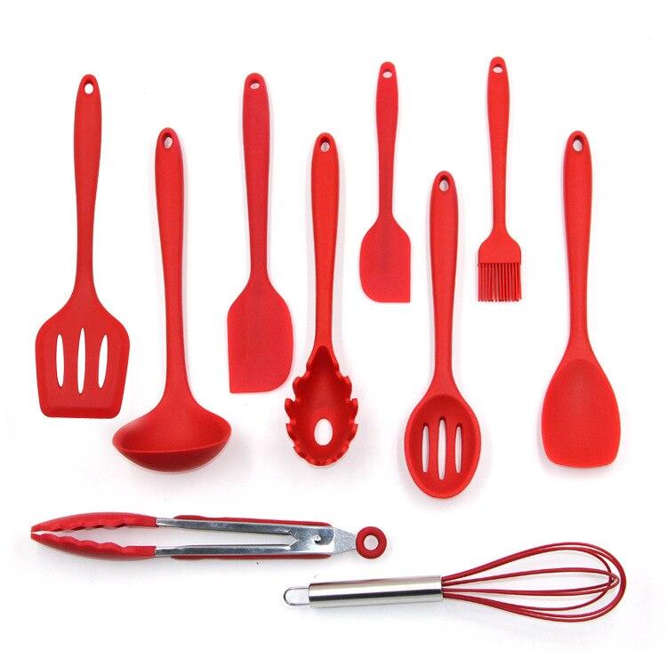 Ustensiles de cuisine en Silicone 10 pièces ensemble d'ustensiles de cuisine spatule cuillère louche serveur Spaghetti fendu tourneur outils de cuisson