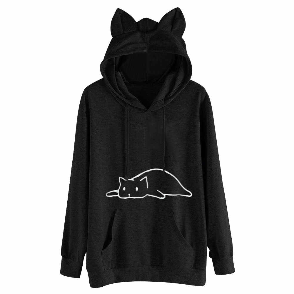 Spring Autumn Fashion Cat Ear Hoodies For Women Girls Solid Long Sleeve Cat Printed Pockets Top Blouse Sweatshirt Loose Hoody