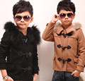 Winter boy British wind collars horn button boy coat