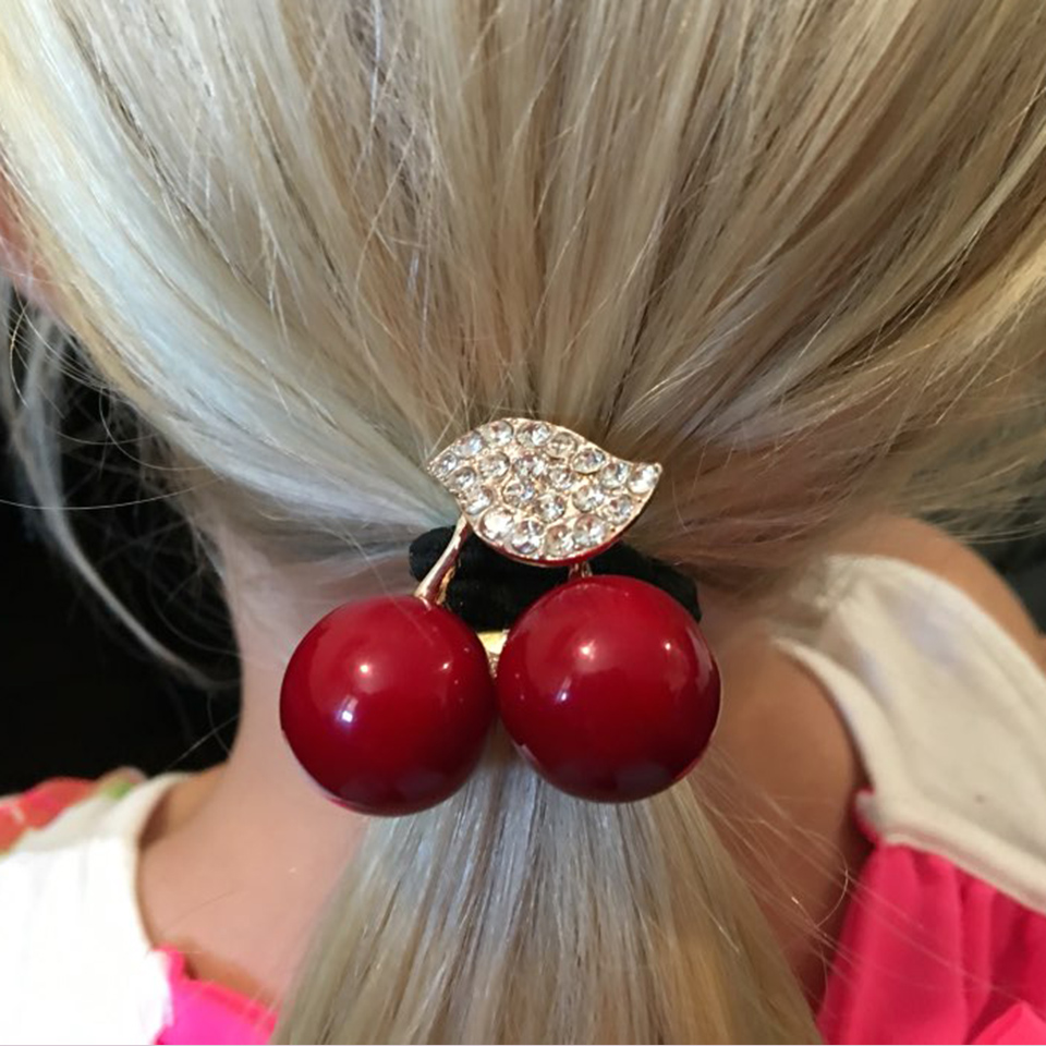 Women Simulated Pearl Hair Band Cherry Rubber Band Elastic Hair Bands Girls Hair Accessories Ladies Hairband