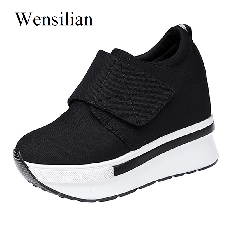 Summer Sneakers Women Platform Shoes Wedge Sneakers Tenis Feminino Stretch Fabric Hook-Loop Shoes Trainers Women Zapatos Mujer шарфы kama шарф
