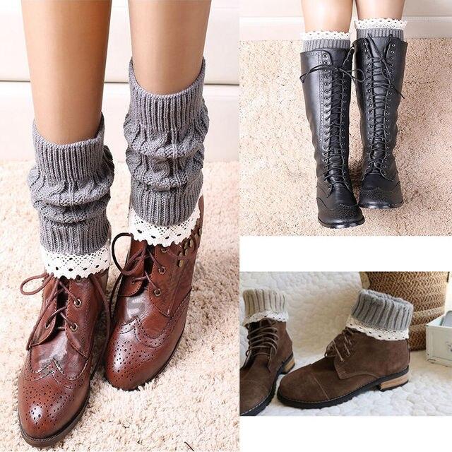Delicado mujeres giro tejer bota corta Calentadores para piernas ...