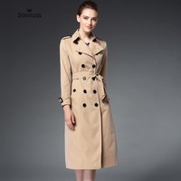 Trench Coat For Women Basic Coats British Style Ladies Long Windbreaker Coat Burderry Double Breasted Casual