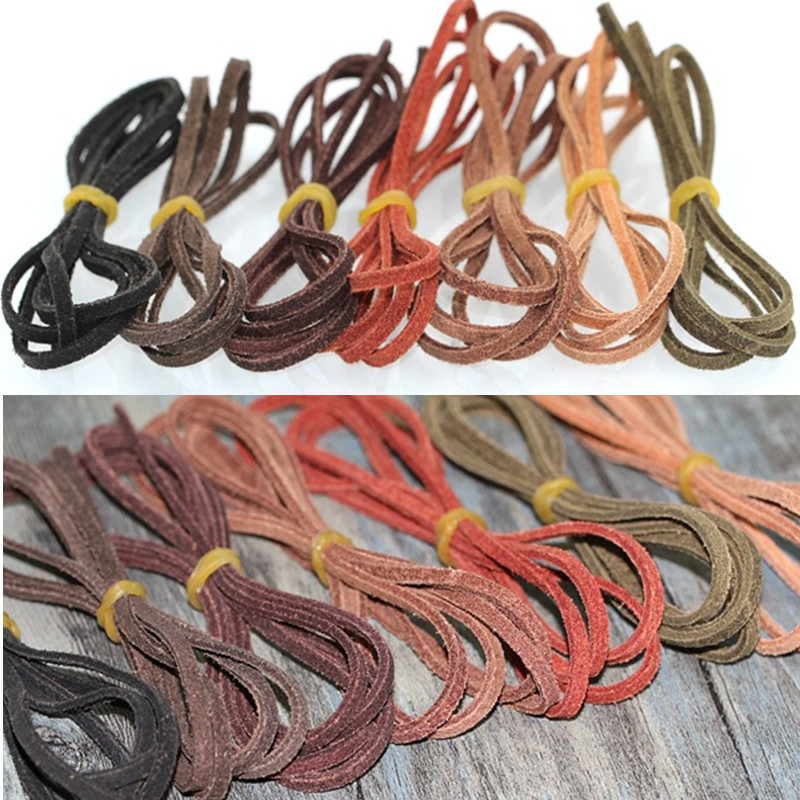 5M Genuine Leather Suede Cord Beading Thread Lace Flat Necklace Craft Making 3MM