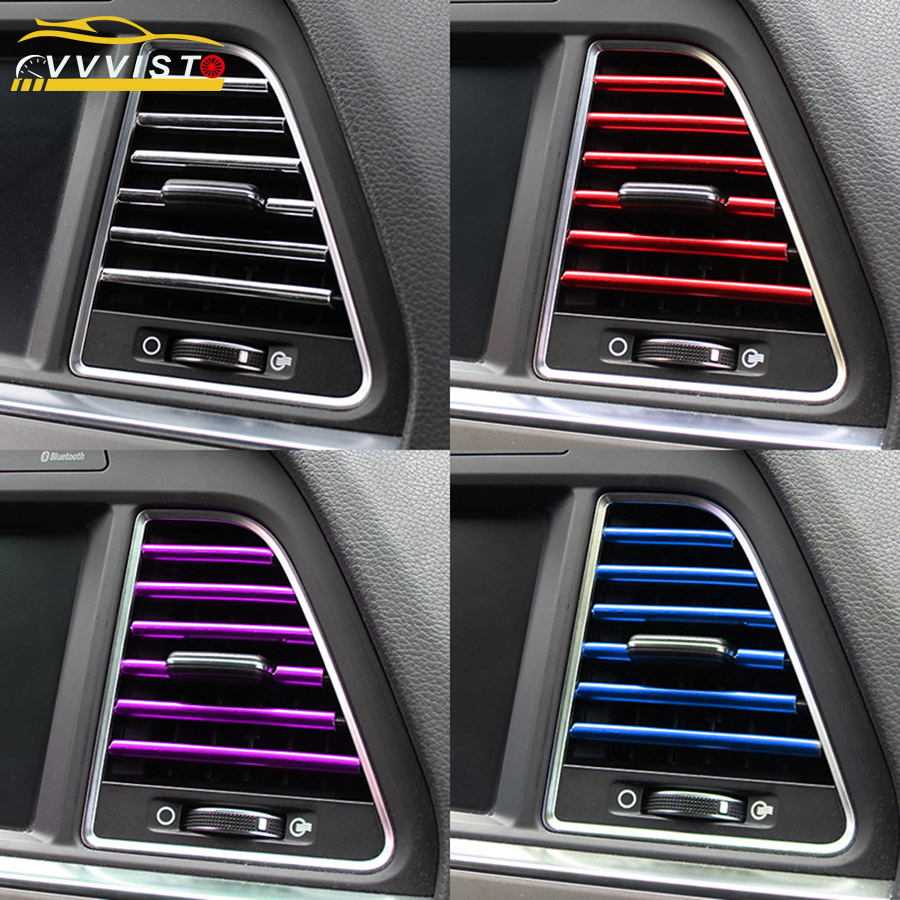 2019 VVVIST Car Styling Mouldings 20cm Interior Air Vent Grille Switch Rim Trim Outlet Scratch Guard Protector Car Styling Strip(China)