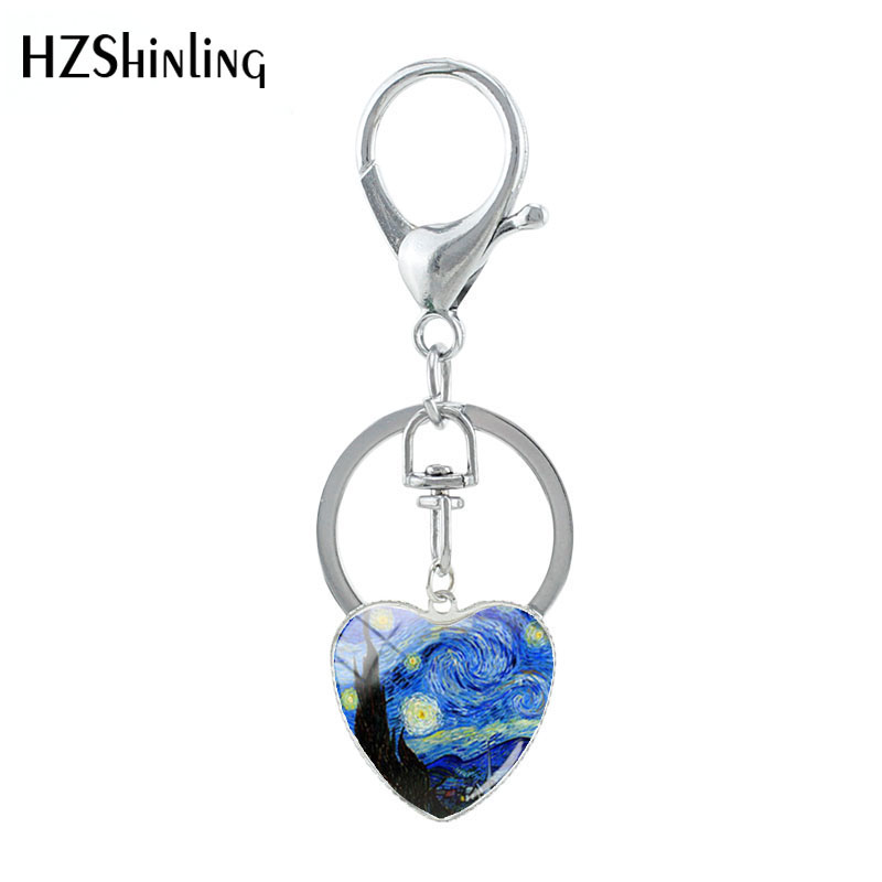 2019 New Arrival Van Gogh Painting The Starry Night Art Paintings Customized Glass Sunflower Heart Shaped Key Chain Jewelry