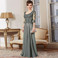 Mother Of The Bride Dresses A-line Scoop Half Sleeves Chiffon Appliques Mother Dresses Evening Dresses For Weddings CG039