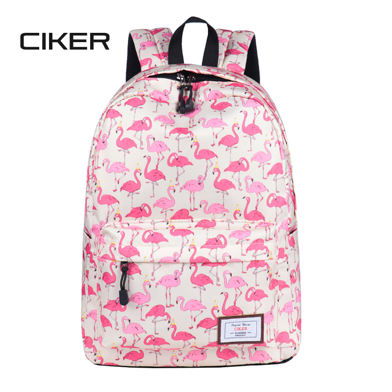 CIKER fashion preppy style women Flamingo printing backpacks for teenage girls mochilas rucksack shoulder bag cute school bags flamingo printing canvas school bags flamingo travel portable backpacks drawstring bag for women and students