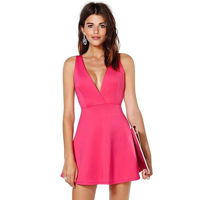 0c28b410346 NEW Summer Women Mini Dress Sleeveless V-Neck Hot Pink Flare Sexy Dress  Cross Back Skater Dress Vestidos DS003