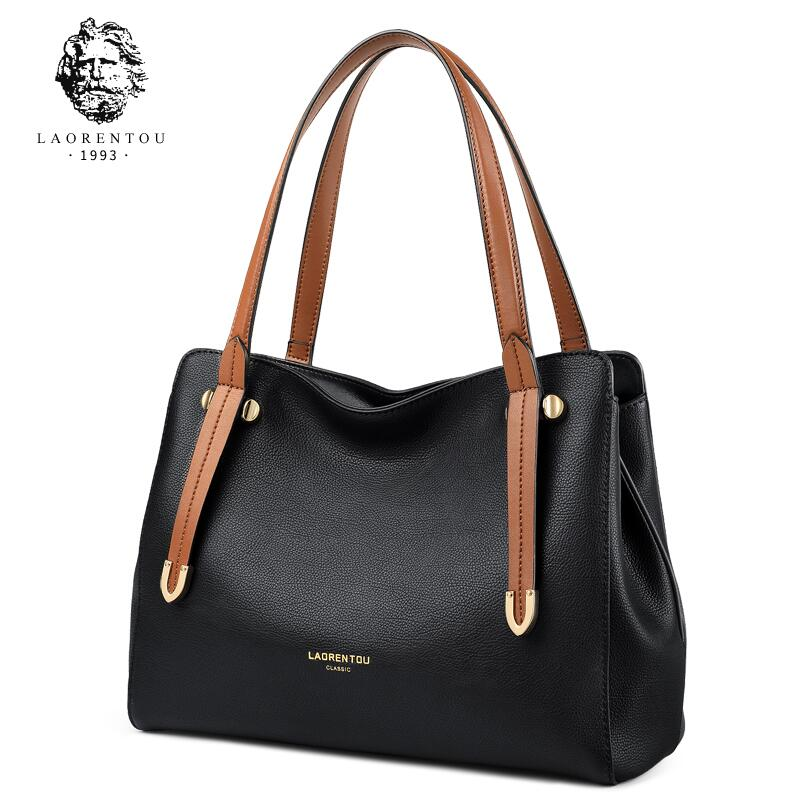 LAORENTOU Casual leather handbag women 2018 new European and American fashion large capacity ladies shoulder bag ladies handbag 2018 new simple large capacity zipper waller long tern fashion women style