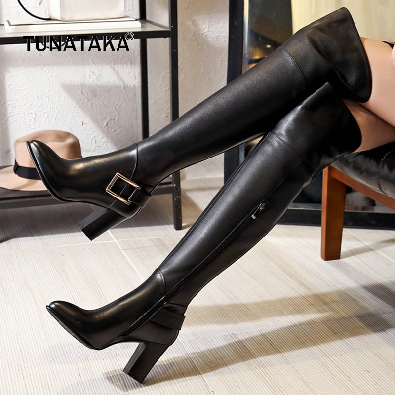 Genuine Leather Square High Heel Pointed Toe Woman Over The Knee Boots Fashion Buckle Zip Party Thigh Boots Black