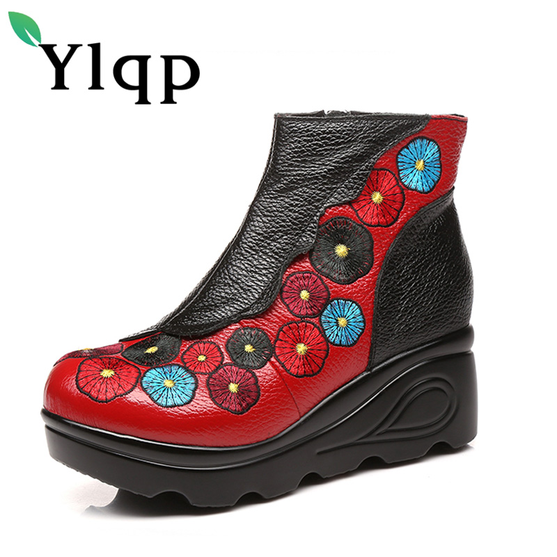 Ylqp 2017 Autumn Winter Women High Heel Genuine Leather Boots Handmade Vintage Ankle Boots Flower Mother Shoes Zapatos Mujer 2018 high quality handmade thick heel women shoes genuine leather women boots martins winter vintage ankle boots botas mujer