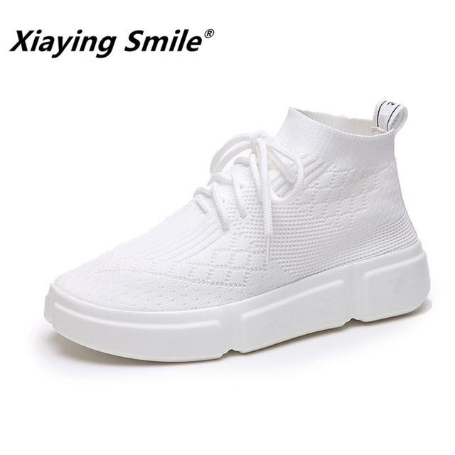 Xiaying Smile/женские ботильоны; Новинка; Модная стильная повседневная обувь; Женская обувь в Корейском стиле; нескользящая подошва; дышащие эластичные носки