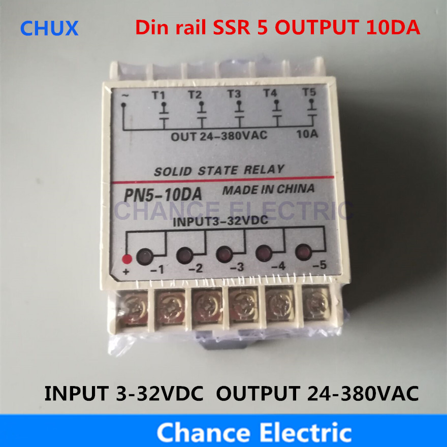 PN5-10DA Din Rail SSR 5 Channel Quintuplicate Five Input Output 24VDC Single Phase DC to AC 10A Solid State Relay 1pc 10da 5 channel din rail ssr quintuplicate five input 3 32vdc output 24 380vac single phase dc solid state relay 10a plc hot page 5