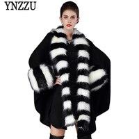 YNZZUใหม่ฤดูหนาวผู้หญิงผ้าคลุมไหล่เสื้อยาวขนปลอกคอสุนัขจิ้งจอกหลวมถักนิตติ้งถักผ้าคลุมไหล...