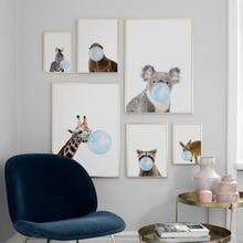 Cartoon Koala Zebra Giraffe Raccoon Balloon Nordic Posters And Prints Wall Art Canvas Painting Pictures For Kids Room Decor