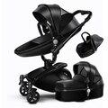 3 Em 1 De Couro Conjunto de Alta Paisagem Carrinho de Bebê Carrinho De Criança sistema de 360 Rotação Do Pram Do Bebê Carrinho de Bebé com Berço e Carro assento