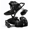 3 In 1 Leather Baby Stroller Set High Landscape Stroller System Baby Pram 360 Rotation Pushchair with Bassinet and Car Seat