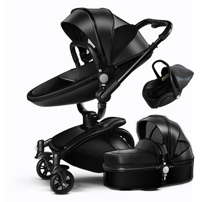 buy 3 in 1 leather baby stroller set high. Black Bedroom Furniture Sets. Home Design Ideas