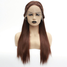 Synthetic Lace Front Wig Women's Straight Auburn Braid Heat Resistant Hair Braided Wig Long Lace Front