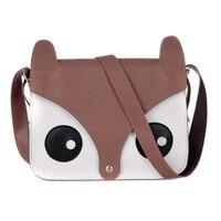 Wholesale 10* Dark Brown Korean Cute Pu Leather Retro Owl Fox Bag Messenger Crossbody Handbag