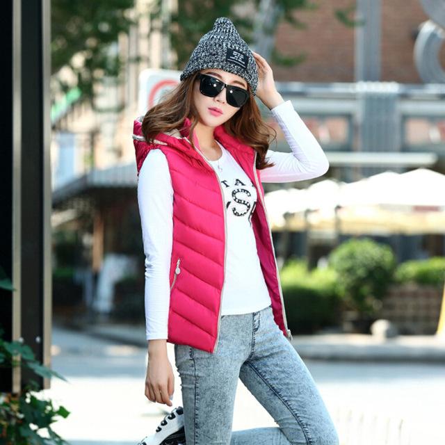 Mujeres de moda chaqueta sin mangas 2016 Cotton Regular delgado párrafo pluma caliente chaleco de la capa del algodón 5XL FB066