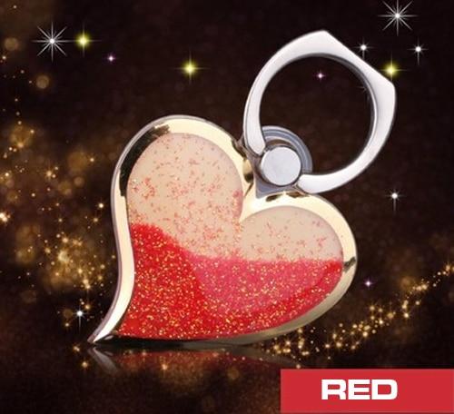 Heart-shaped Liquid Quicksand 360 Degree Finger Ring Mobile Phone Stand Holder Love Design Glitter Bling phone stand