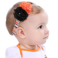 Kids Girl Baby Halloween Pumpkin Costume Lace Pearl Crystal Flower Hair Band Headband Party Jewelry Festival Gift