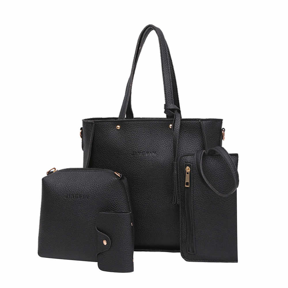 b51fd8f1903 MUQGEW 4 Pcs PU Leather Women Bags Casual Handbags Vintage Shoulder ...