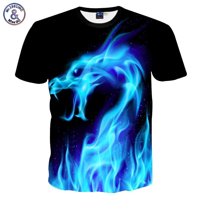 Mr.1991INC Freddo della Maglietta Degli Uomini/Donne 3d Tshirt Stampa Blue Fire Serpente Short Summer Manica Top Tees maglietta di Modo