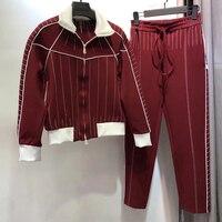 WA06231 2 piece sets women pants tops 2018 autumn long sleeve jacket and pants suit sets