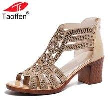 e161a5dfbc TAOFFEN Mulheres Fretwork Sandálias Gladiador Salto Alto Sapatos de Festa  de Verão As Mulheres Clássicos Elegante