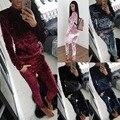 2017 Winter Tracksuit Fashion Velvet Long Sleeve Sportsuit Women 2 Piece Set Slim Pants Suits + Hooded Sets Plus Size