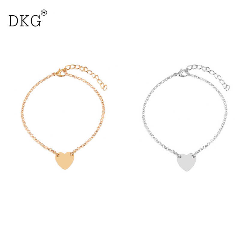 Christmas New Gold Color Love Heart Simple Adjustable Bracelets for Women Simple Fashion DIY Jewelry Cute Women Gift Wholesale