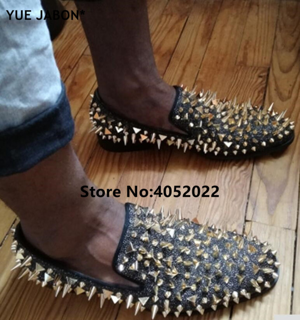 Newest Fashion Men Handmade Studs Spike Shoes Black Sliver Gold Glitter Loafers Shoes Runway Shining Rivets Party Wedding Shoes