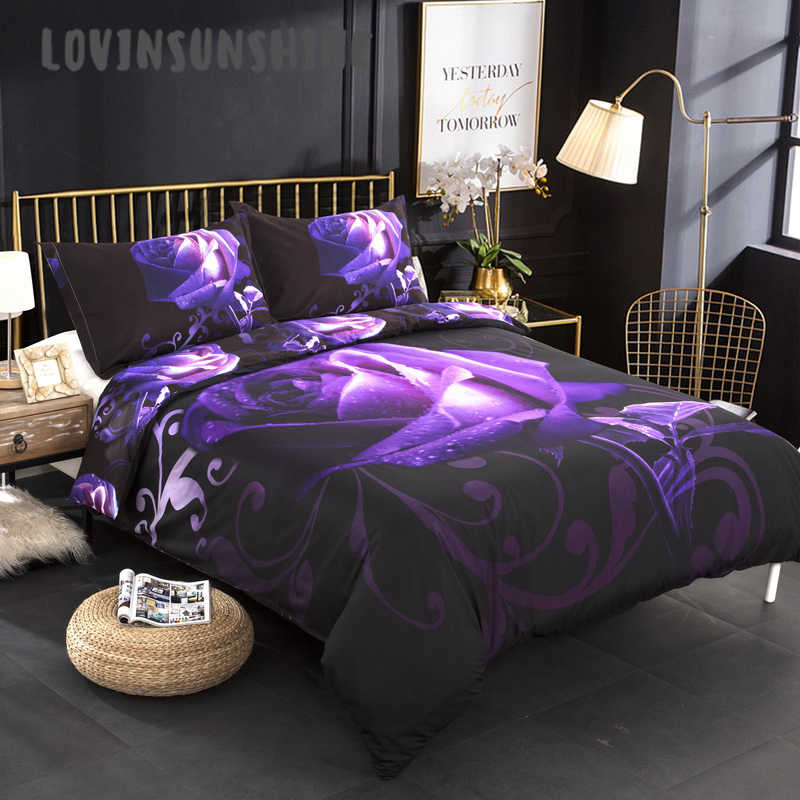 LOVINSUNSHINE King Duvet Cover Queen Bed Comforter Set 3d Rose Purple Bedding Set AB#169