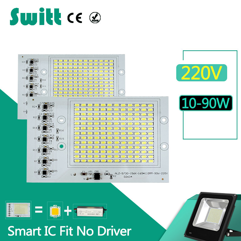 Switt LED bulb 220V Chips Smart IC 10W 20W 30W 50W 90W 240V led lamp driver free  For Outdoor FloodLight Cold Warm White