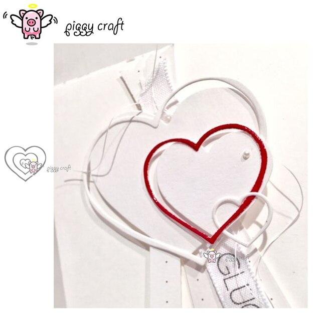 Piggy craft wykrojniki do metalu cut foremka szablon w kształcie serca tamborek papier do notatnika nóż do rękodzieła formy podkładki chroniące przed uderzeniami ostrzy umiera