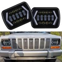 2PCS 55W 7x6'' 5X7 LED Headlight Halo DRL For 86 95 Jeep Wrangler YJ 84 01 Cherokee XJ Angel Eyes DRL H4 LED Square Headlights