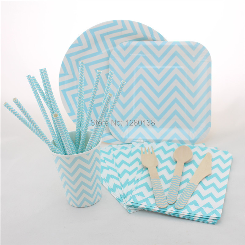 Disposable5 Colors Wedding Supplies Chevron Wooden Spoons Forks Knives Party Tableware Set Chevron Paper Plates Cups Bags Straws-in Event u0026 Party from Home ...  sc 1 st  AliExpress.com & Disposable5 Colors Wedding Supplies Chevron Wooden Spoons Forks ...