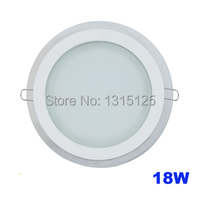 Modern Design With Glass 18W LED Ceiling Recessed Downlight Round Panel Light Kitchen Light 200mm 1pc