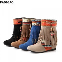New autumn and winter tassel short tube female boots matching color beaded female boots large size frosted boots