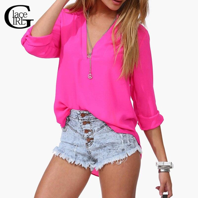 Lace Girl 2016 Long Sleeve font b Women b font Chiffon Blouse Casual Shirts Thin font