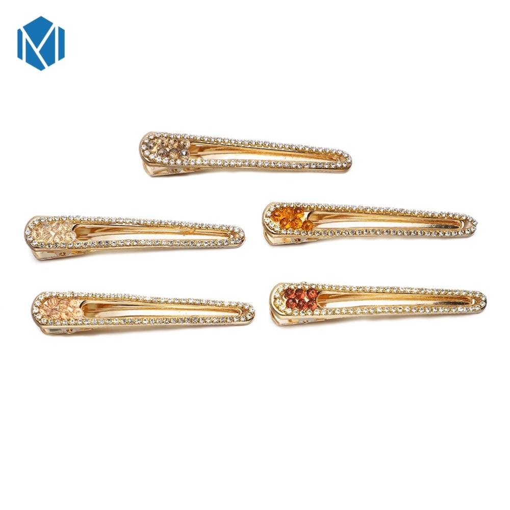 M MISM 8cm Luxurious Rhinestone Hair Clips For Women European Style Girls Hair Accessories Modis Big Size Hollow Golden Hairpins