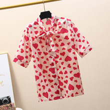 NiceMix New Womens Tops Fashion 2019 Summer autumn short sleeve Leisure Chiffon Blouse Casual Female Bow pink tops Heart shape B